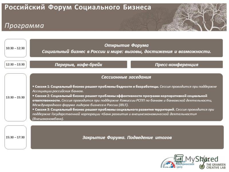 Российский Форум Социального Бизнеса Программа 12:30 – 13:30 Открытие Форума Социальный бизнес в России и мире: вызовы, достижения и возможности. 10:30 – 12:30 Перерыв, кофе-брейк Сессионные заседания Сессия 1: Социальный бизнес решает проблемы бедно