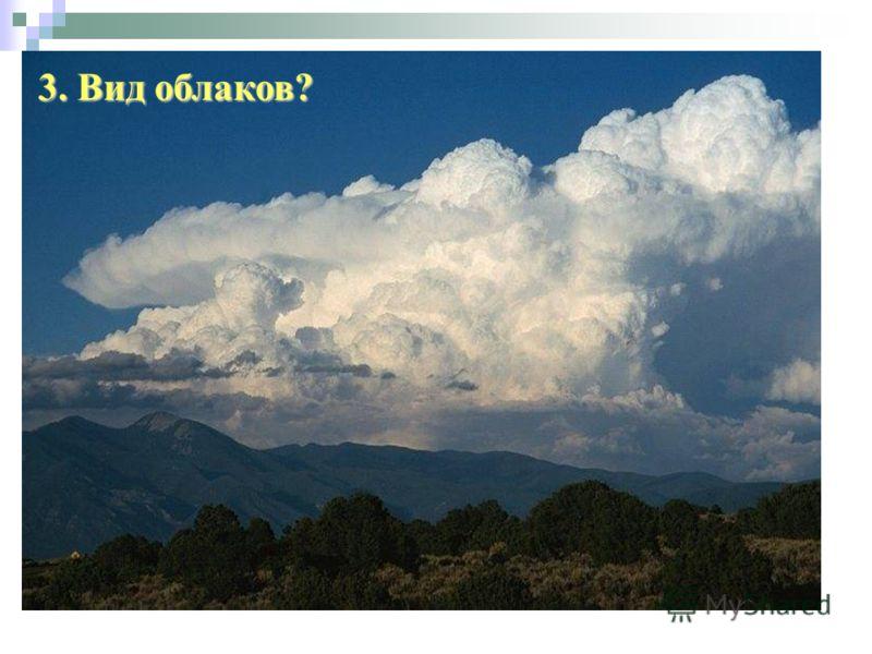 3. Вид облаков?