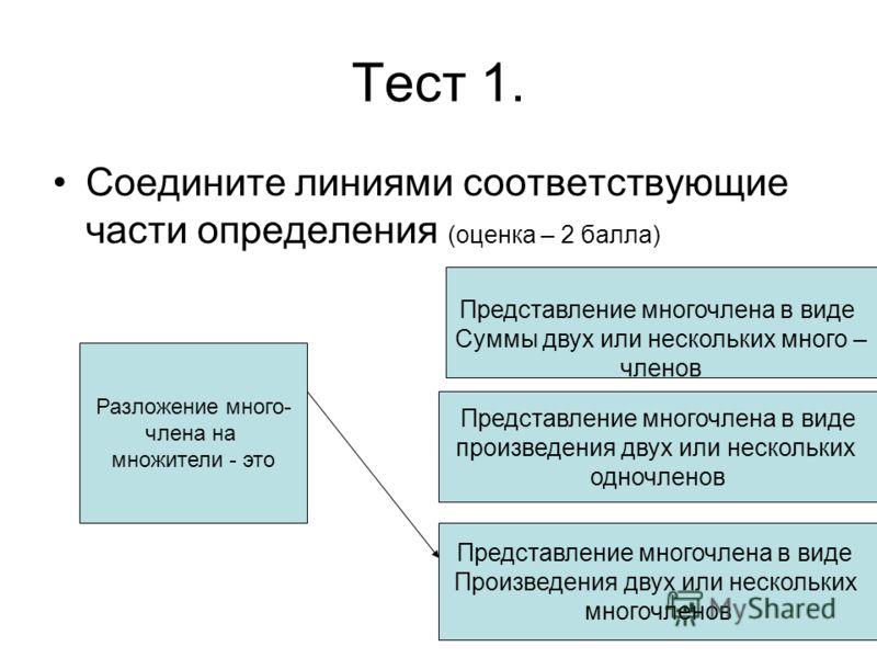 Тест 1. Соедините линиями соответствующие части определения (оценка – 2 балла) Разложение много- члена на множители - это Представление многочлена в виде Суммы двух или нескольких много – членов Представление многочлена в виде произведения двух или н