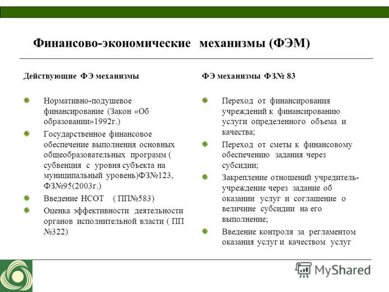 Финансово-экономические механизмы (ФЭМ) Действующие ФЭ механизмы Нормативно-подушевое финансирование (Закон «Об образовании»1992г.) Государственное финансовое обеспечение выполнения основных общеобразовательных программ ( субвенция с уровня субъекта