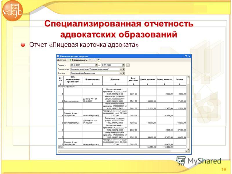 Отчет «Лицевая карточка адвоката» 18 Специализированная отчетность адвокатских образований