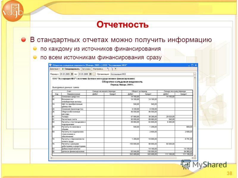 В стандартных oтчетах можно получить информацию по каждому из источников финансирования по всем источникам финансирования сразу 38 Отчетность