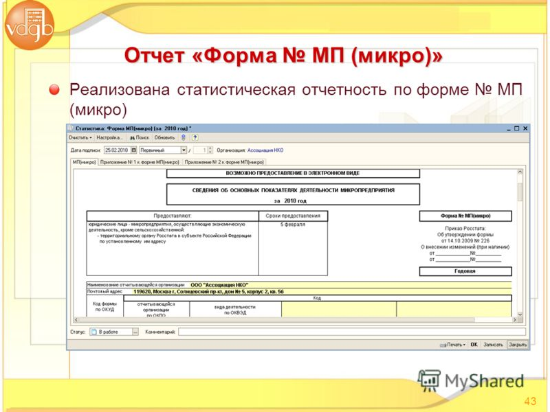 Реализована статистическая отчетность по форме МП (микро) 43 Отчет «Форма МП (микро)»