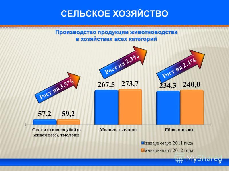 6 СЕЛЬСКОЕ ХОЗЯЙСТВО Рост на 3,5% Рост на 2,3% Рост на 2,4% Производство продукции животноводства в хозяйствах всех категорий