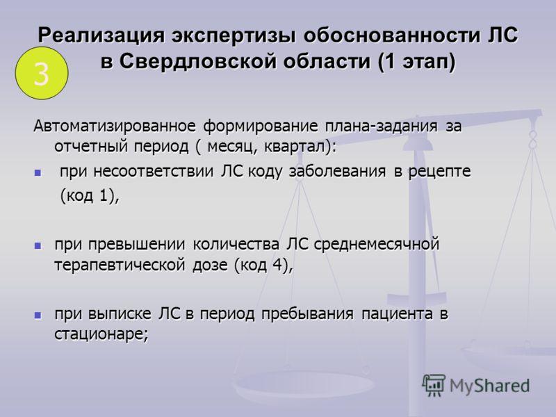 Реализация экспертизы обоснованности ЛС в Свердловской области (1 этап) Автоматизированное формирование плана-задания за отчетный период ( месяц, квартал): при несоответствии ЛС коду заболевания в рецепте при несоответствии ЛС коду заболевания в реце