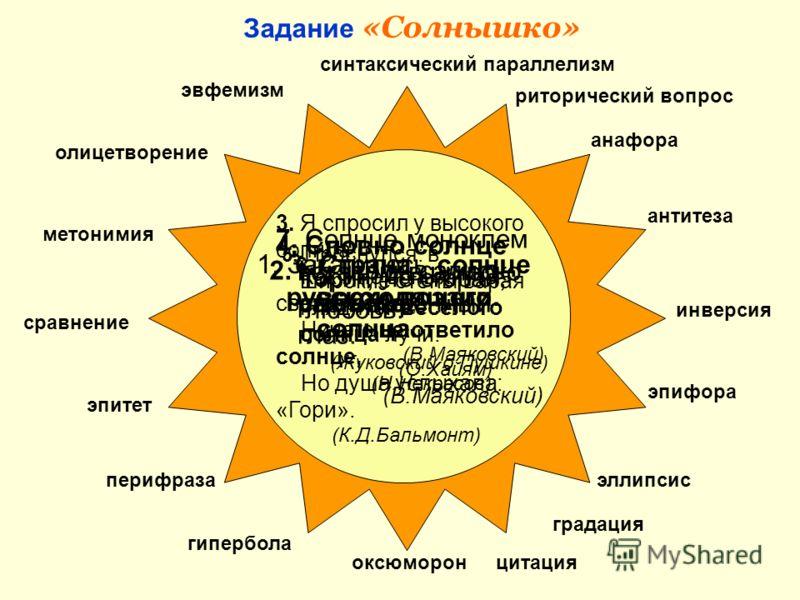 Задание «Солнышко» 7. Солнце моноклем вставлю в широко растопыренный глаз. (В.Маяковский) метонимия олицетворение сравнение эпитет перифраза эвфемизм гипербола синтаксический параллелизм риторический вопрос антитеза анафора инверсия оксюморон эллипси