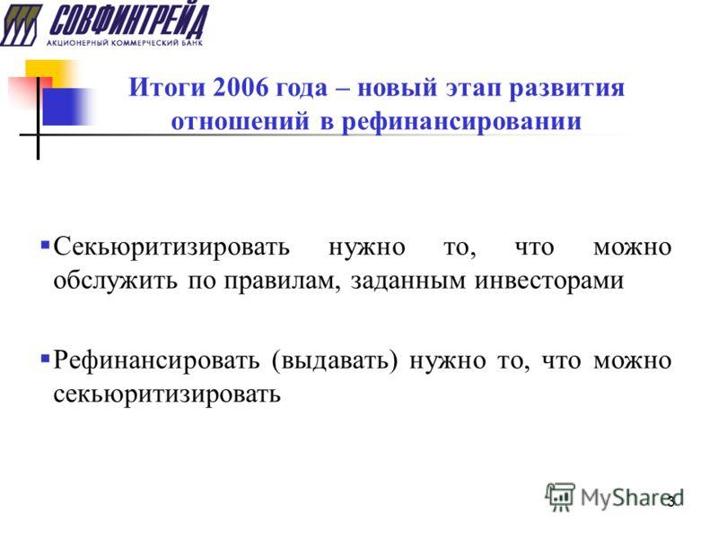 3 Итоги 2006 года – новый этап развития отношений в рефинансировании Секьюритизировать нужно то, что можно обслужить по правилам, заданным инвесторами Рефинансировать (выдавать) нужно то, что можно секьюритизировать