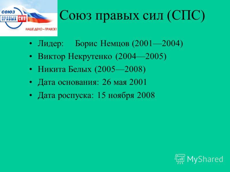 Союз правых сил (СПС) Лидер:Борис Немцов (20012004) Виктор Некрутенко (20042005) Никита Белых (20052008) Дата основания: 26 мая 2001 Дата роспуска: 15 ноября 2008