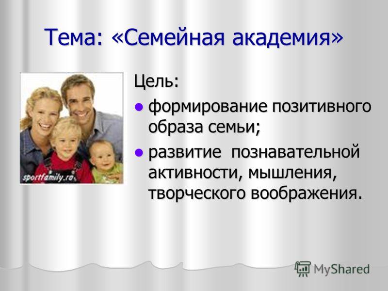 Тема: «Семейная академия» Цель: формирование позитивного образа семьи; формирование позитивного образа семьи; развитие познавательной активности, мышления, творческого воображения. развитие познавательной активности, мышления, творческого воображения