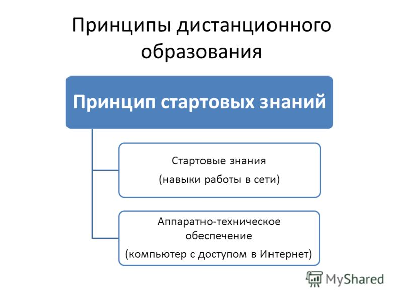 Принципы дистанционного образования Принцип стартовых знаний Стартовые знания (навыки работы в сети) Аппаратно-техническое обеспечение (компьютер с доступом в Интернет)