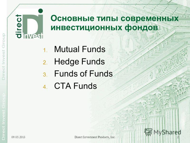 09.05.2013 Direct Investment Products, Inc. 2 Основные типы современных инвестиционных фондов 1. Mutual Funds 2. Hedge Funds 3. Funds of Funds 4. CTA Funds