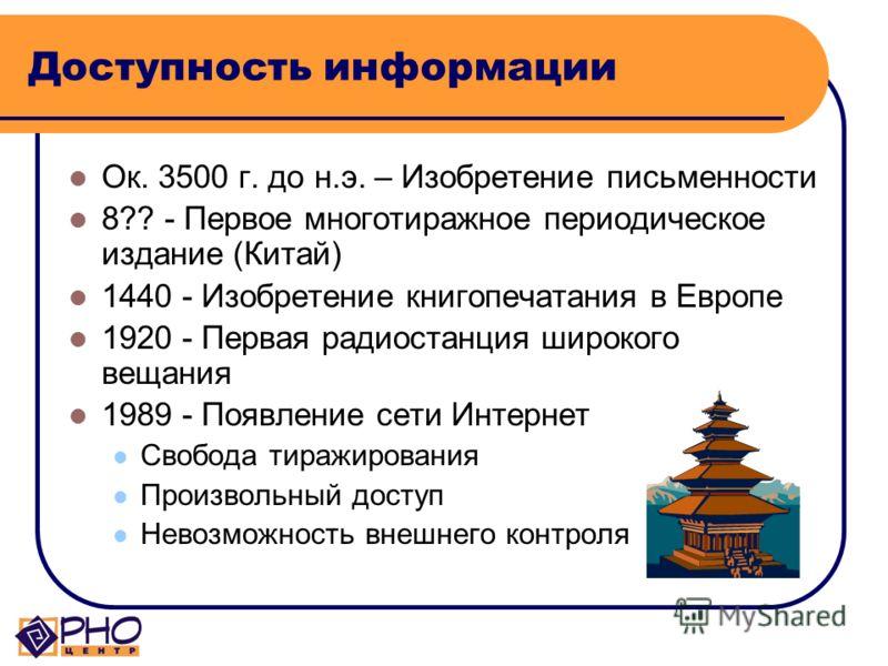 Доступность информации Ок. 3500 г. до н.э. – Изобретение письменности 8?? - Первое многотиражное периодическое издание (Китай) 1440 - Изобретение книгопечатания в Европе 1920 - Первая радиостанция широкого вещания 1989 - Появление сети Интернет Свобо