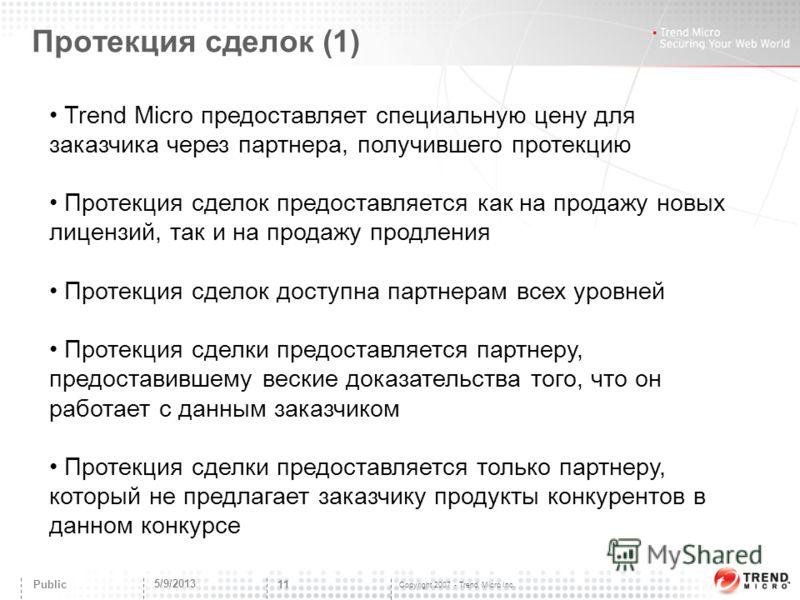 Copyright 2007 - Trend Micro Inc. Протекция сделок (1) 5/9/2013 11 Public Trend Micro предоставляет специальную цену для заказчика через партнера, получившего протекцию Протекция сделок предоставляется как на продажу новых лицензий, так и на продажу