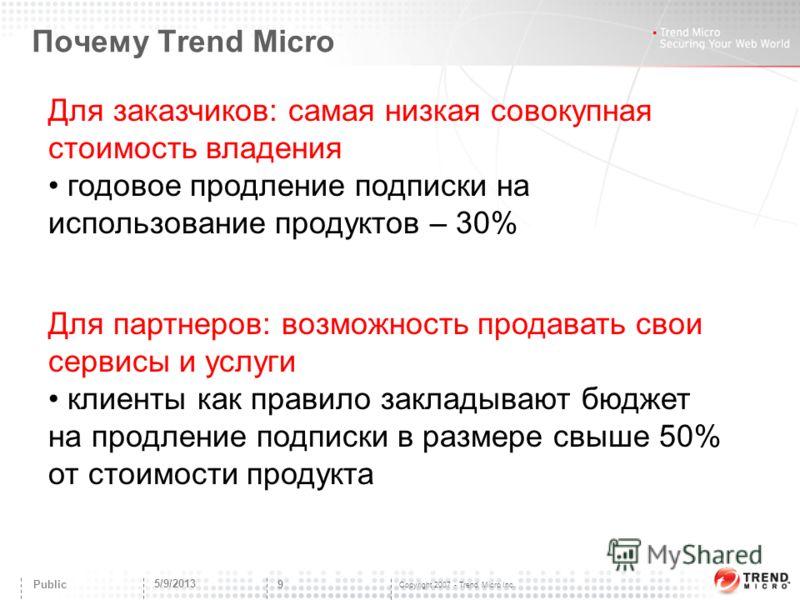 Copyright 2007 - Trend Micro Inc. Почему Trend Micro 5/9/2013 9 Public Для заказчиков: самая низкая совокупная стоимость владения годовое продление подписки на использование продуктов – 30% Для партнеров: возможность продавать свои сервисы и услуги к