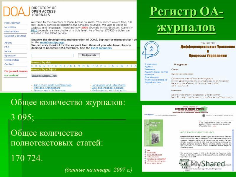 Регистр OA- журналов Регистр OA- журналов Общее количество журналов: 3 095; Общее количество полнотекстовых статей: 170 724. (данные на январь 2007 г.)