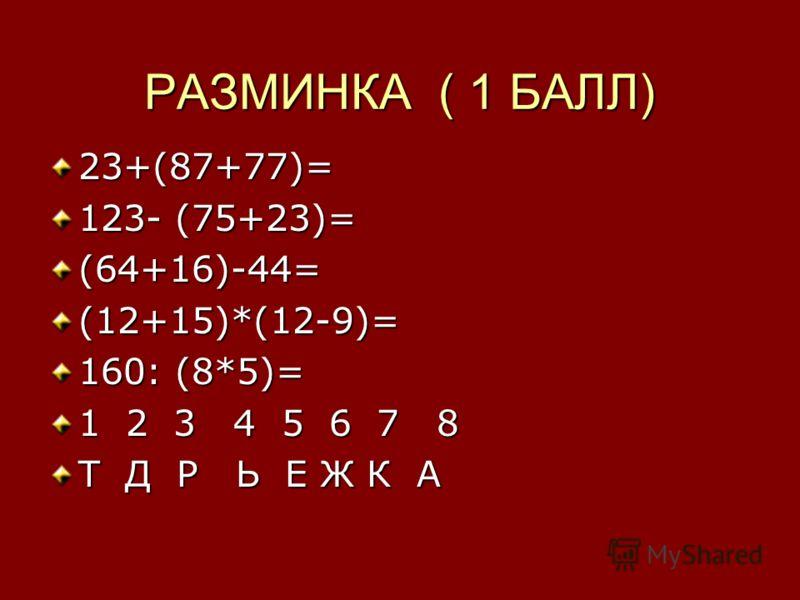 РАЗМИНКА ( 1 БАЛЛ) 23+(87+77)= 123- (75+23)= (64+16)-44=(12+15)*(12-9)= 160: (8*5)= 1 2 3 4 5 6 7 8 Т Д Р Ь Е Ж К А