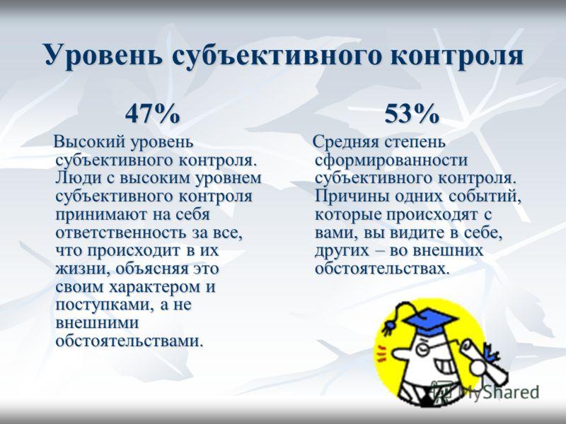 Уровень субъективного контроля 47% Высокий уровень субъективного контроля. Люди с высоким уровнем субъективного контроля принимают на себя ответственность за все, что происходит в их жизни, объясняя это своим характером и поступками, а не внешними об