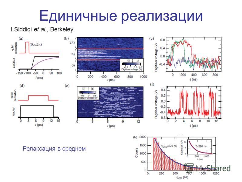 Единичные реализации Релаксация в среднем I.Siddiqi et al., Berkeley