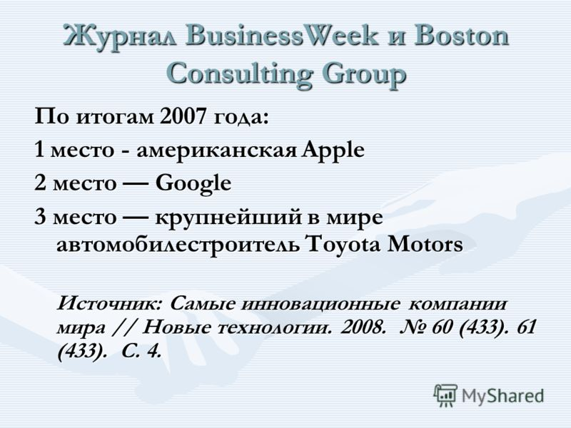 Журнал BusinessWeek и Boston Consulting Group По итогам 2007 года: 1 место - американская Apple 2 место Google 3 место крупнейший в мире автомобилестроитель Toyota Motors Источник: Самые инновационные компании мира // Новые технологии. 2008. 60 (433)