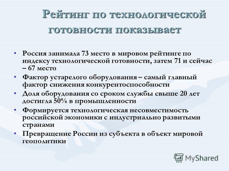 Рейтинг по технологической готовности показывает Рейтинг по технологической готовности показывает Россия занимала 73 место в мировом рейтинге по индексу технологической готовности, затем 71 и сейчас – 67 местоРоссия занимала 73 место в мировом рейтин