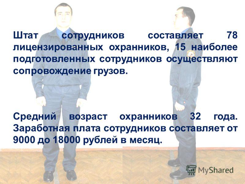 Штат сотрудников составляет 78 лицензированных охранников, 15 наиболее подготовленных сотрудников осуществляют сопровождение грузов. Средний возраст охранников 32 года. Заработная плата сотрудников составляет от 9000 до 18000 рублей в месяц.