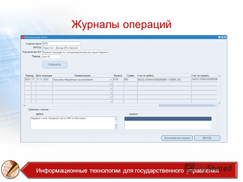 Журналы операций Аналитика Информационные технологии для государственного управления