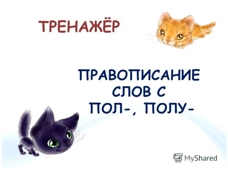 ТРЕНАЖЁР ПРАВОПИСАНИЕ СЛОВ С ПОЛ-, ПОЛУ-