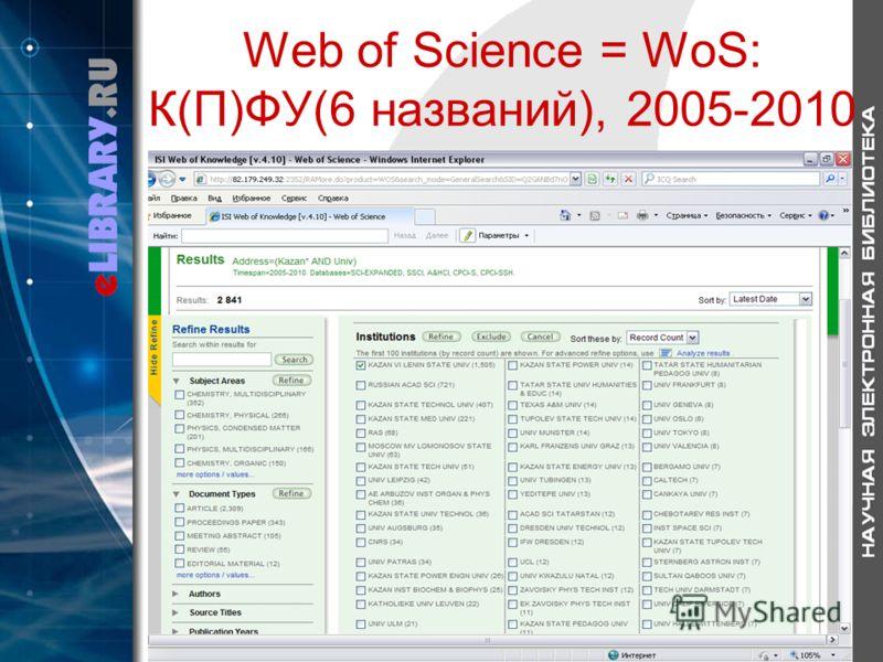 Web of Science = WoS: К(П)ФУ(6 названий), 2005-2010