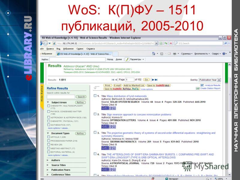 WoS: К(П)ФУ – 1511 публикаций, 2005-2010