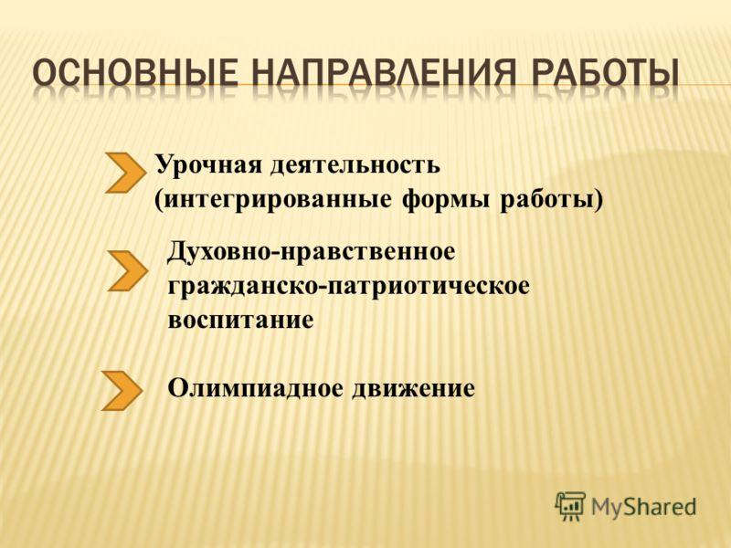 Олимпиадное движение Урочная деятельность (интегрированные формы работы) Духовно-нравственное гражданско-патриотическое воспитание