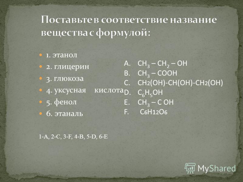 1. этанол 2. глицерин 3. глюкоза 4. уксусная кислота 5. фенол 6. этаналь 1-А, 2-С, 3-F, 4-B, 5-D, 6-E A.СН 3 – СН 2 – OH B.СН 3 – СOOH C.CH 2 (OH)-CH(OH)-CH 2 (OH) D.C 6 H 5 OH E.СН 3 – С OH F. C 6 H 1 2 O 6