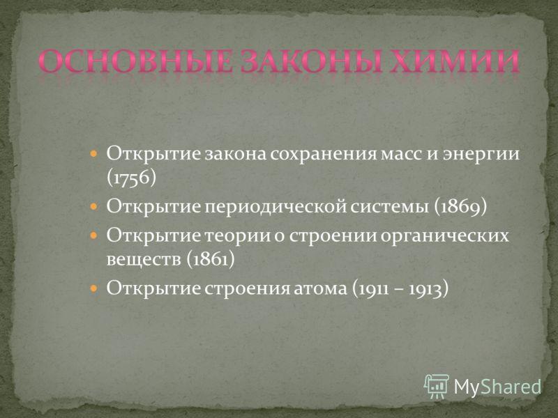 Открытие закона сохранения масс и энергии (1756) Открытие периодической системы (1869) Открытие теории о строении органических веществ (1861) Открытие строения атома (1911 – 1913)