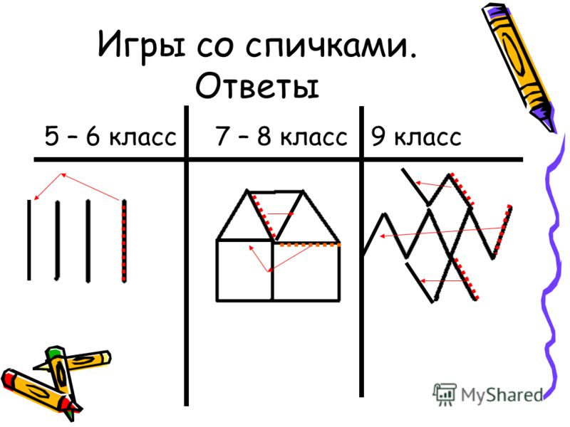 Игры со спичками. Ответы 5 – 6 класс 7 – 8 класс 9 класс