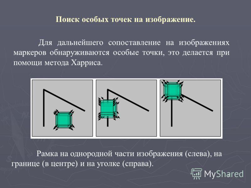 7 Поиск особых точек на изображение. Рамка на однородной части изображения (слева), на границе (в центре) и на уголке (справа). Для дальнейшего сопоставление на изображениях маркеров обнаруживаются особые точки, это делается при помощи метода Харриса