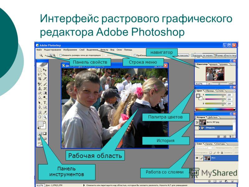 Интерфейс растрового графического редактора Adobe Photoshop Панель инструментов Панель свойств Строка меню навигатор Палитра цветов История Работа со слоями Рабочая область