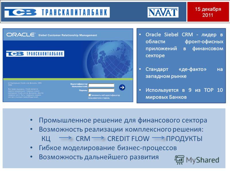 15 декабря 2011 Oracle Siebel CRM - лидер в области фронт-офисных приложений в финансовом секторе Стандарт «де-факто» на западном рынке Используется в 9 из ТОР 10 мировых Банков Промышленное решение для финансового сектора Возможность реализации комп