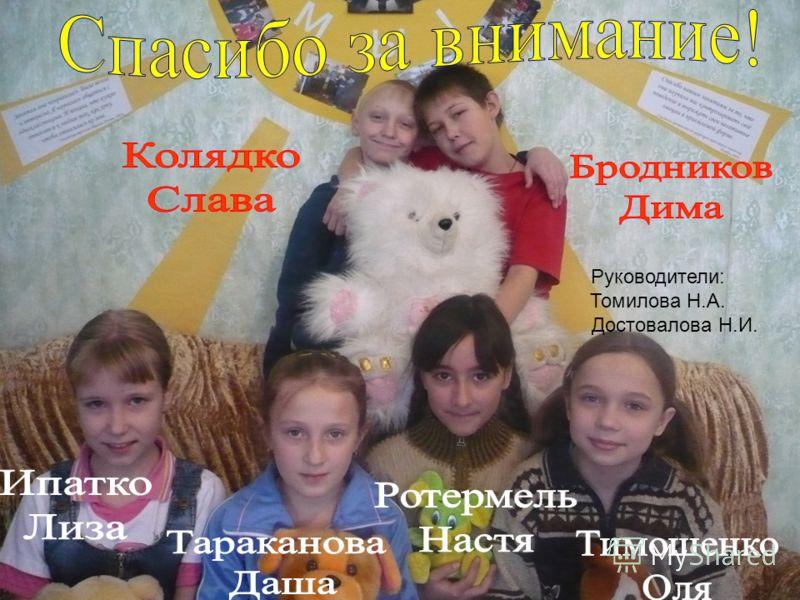 Руководители: Томилова Н.А. Достовалова Н.И.