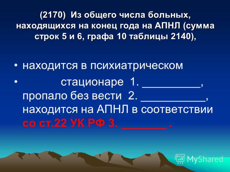 (2170) Из общего числа больных, находящихся на конец года на АПНЛ (сумма строк 5 и 6, графа 10 таблицы 2140), находится в психиатрическом стационаре 1. _________, пропало без вести 2. __________, находится на АПНЛ в соответствии со ст.22 УК РФ 3. ___