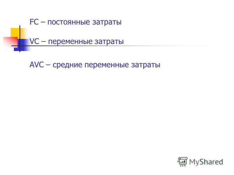 FC – постоянные затраты VC – переменные затраты АVC – средние переменные затраты