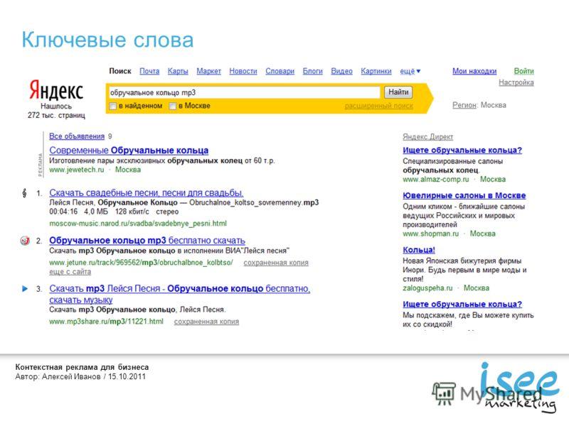 Контекстная реклама для бизнеса Автор: Алексей Иванов / 15.10.2011 Ключевые слова