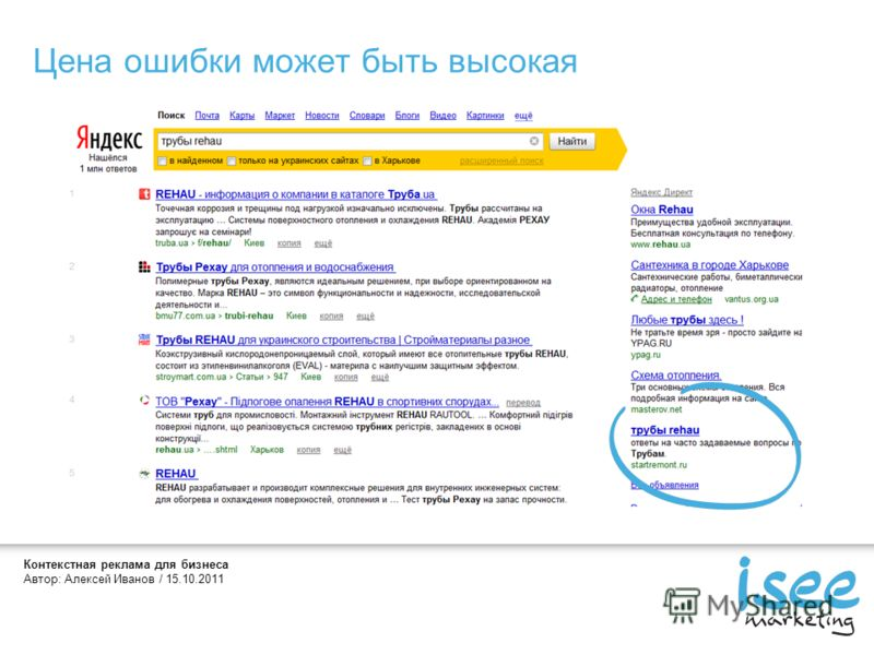Контекстная реклама для бизнеса Автор: Алексей Иванов / 15.10.2011 Цена ошибки может быть высокая