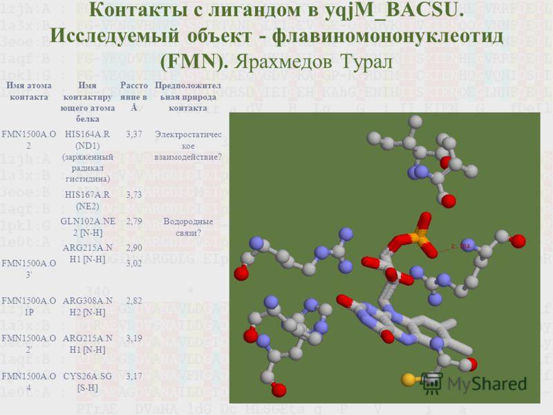 Контакты с лигандом в yqjM_BACSU. Исследуемый объект - флавиномононуклеотид (FMN). Ярахмедов Турал Имя атома контакта Имя контактиру ющего атома белка Рассто яние в Å Предположител ьная природа контакта FMN1500A.O 2 HIS164A.R (ND1) (заряженный радика