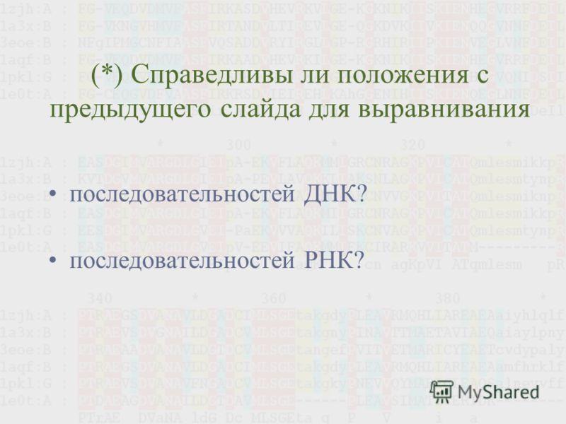 (*) Справедливы ли положения с предыдущего слайда для выравнивания последовательностей ДНК? последовательностей РНК?