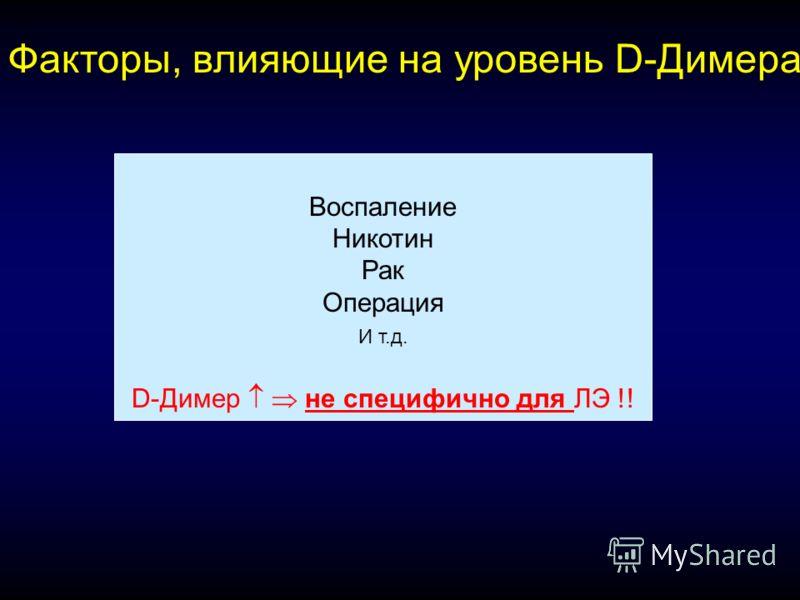 Воспаление Никотин Рак Операция И т.д. D-Димер не специфично для ЛЭ !! Факторы, влияющие на уровень D-Димера: