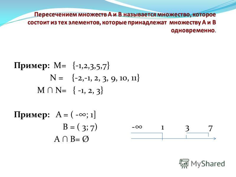 Пример: М= {-1,2,3,5,7} N = {-2,-1, 2, 3, 9, 10, 11} M N= { -1, 2, 3} Пример: А = ( -; 1] В = ( 3; 7) - 1 3 7 А В= Ø