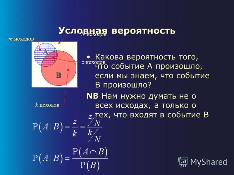 Свойства вероятности Ω СобытиеА N исходов m исходов
