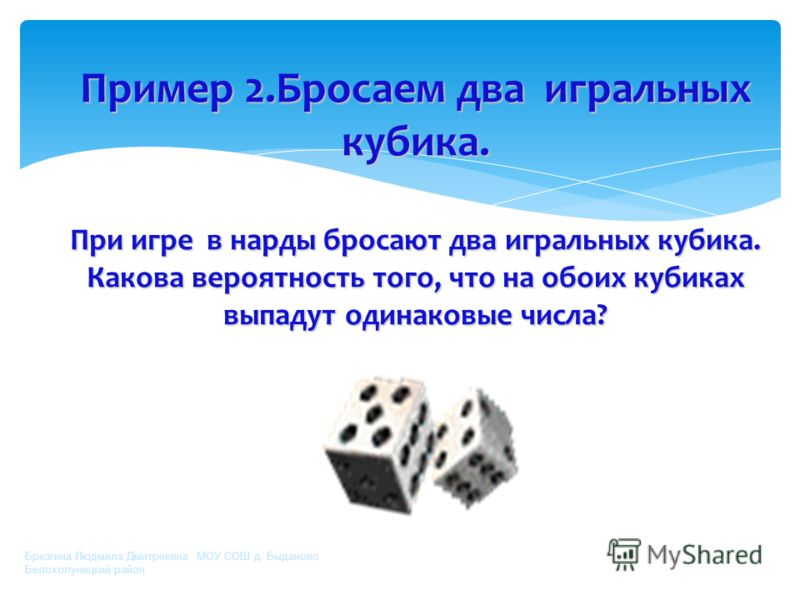 При игре в нарды бросают 2 игральных кубика. Какова вероятность того, что на обоих кубиках выпадут одинаковые числа? Брезгина Людмила Дмитриевна МОУ СОШ д. Быданово Белохолуницкий район Пример 2.Бросаем два игральных кубика. При игре в нарды бросают
