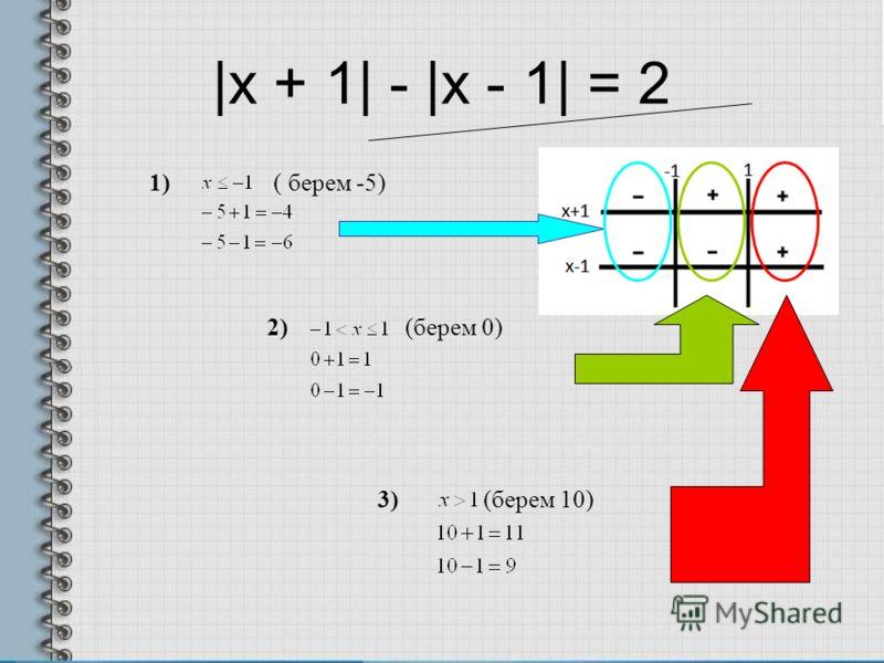 |x + 1| - |x - 1| = 2 2) (берем 0) 1) ( берем -5) 3) (берем 10)