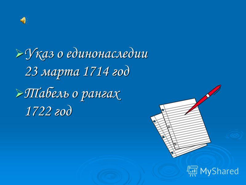 Указ о единонаследии 23 марта 1714 год Указ о единонаследии 23 марта 1714 год Табель о рангах 1722 год Табель о рангах 1722 год