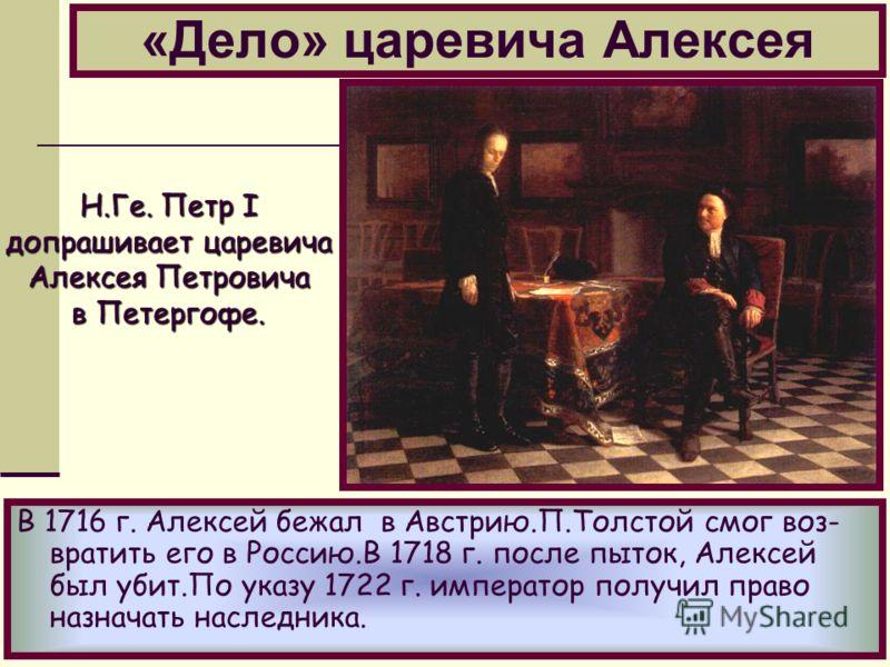 «Дело» царевича Алексея В 1716 г. Алексей бежал в Австрию.П.Толстой смог воз- вратить его в Россию.В 1718 г. после пыток, Алексей был убит.По указу 1722 г. император получил право назначать наследника. Н.Ге. Петр I допрашивает царевича Алексея Петров